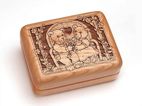 "Top View of a Hinged Box 4x3"" with laser engraved image of Teddies in Love"