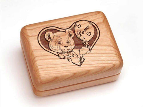 "Top View of a Hinged Box 4x3"" with laser engraved image of Teddy Bear in Love"