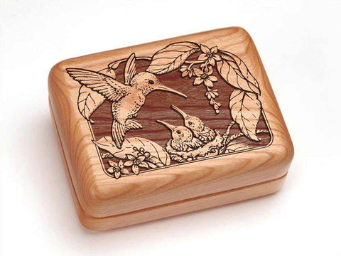 "Top View of a Hinged Box 4x3"" with laser engraved image of Hummingbird with Nest"