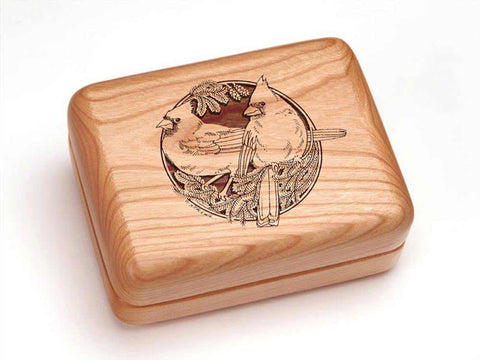 "Top View of a Hinged Box 4x3"" with laser engraved image of Cardinals"
