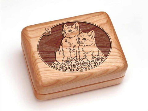 "Top View of a Hinged Box 4x3"" with laser engraved image of Kittens"