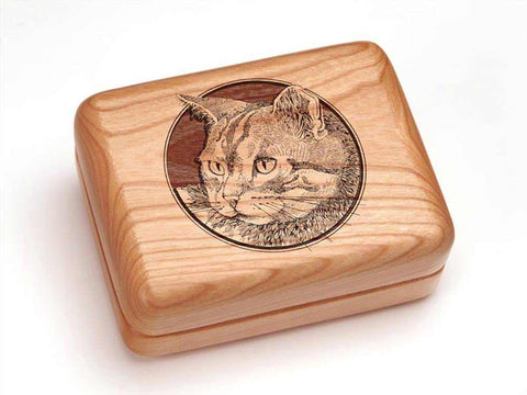 "Top View of a Hinged Box 4x3"" with laser engraved image of Cat Head"