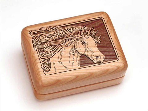 "Top View of a Hinged Box 4x3"" with laser engraved image of Horse"