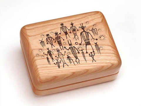 "Top View of a Hinged Box 4x3"" with laser engraved image of Petroglyphs"