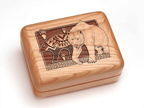 "Top View of a Hinged Box 4x3"" with laser engraved image of Petroglyphs Bear"