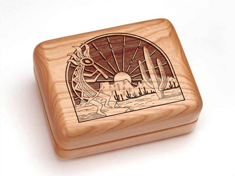 "Top View of a Hinged Box 4x3"" with laser engraved image of Kokopelli"
