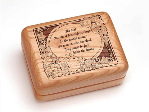 "Top View of a Hinged Box 4x3"" with laser engraved image of Felt With the Heart"