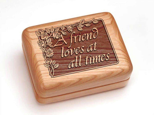 "Top View of a Hinged Box 4x3"" with laser engraved image of Friend Love"