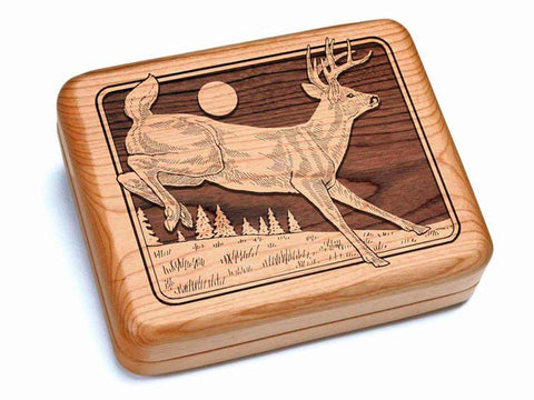 "Top View of a Hinged Box 7x6"" with laser engraved image of Running Deer"