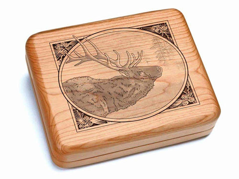"Top View of a Hinged Box 7x6"" with laser engraved image of Elk Oval Frame"