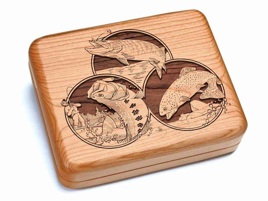 "Top View of a Hinged Box 7x6"" with laser engraved image of Fishing"