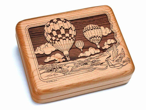 "Top View of a Hinged Box 7x6"" with laser engraved image of Hot Air Balloons"