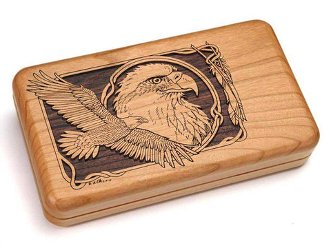 "Top View of a Hinged Box 8x5"" with laser engraved image of Eagle Soaring"