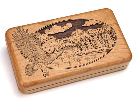 "Top View of a Hinged Box 8x5"" with laser engraved image of Eagle/Mtn Scene"