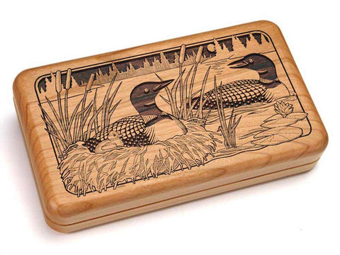 "Top View of a Hinged Box 8x5"" with laser engraved image of Loons Nestling"