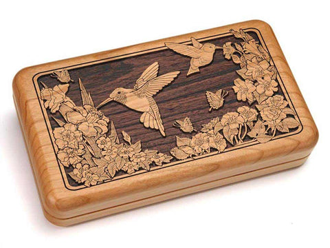 "Top View of a Hinged Box 8x5"" with laser engraved image of Two Hummingbirds"