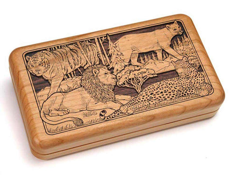 "Top View of a Hinged Box 8x5"" with laser engraved image of Wildlife Collage"