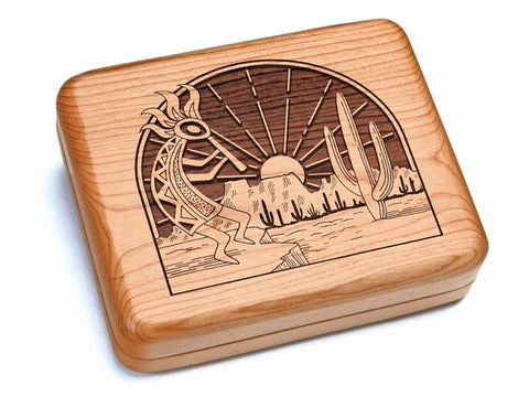 "Top View of a Hinged Box 6x5"" with laser engraved image of Kokopelli"