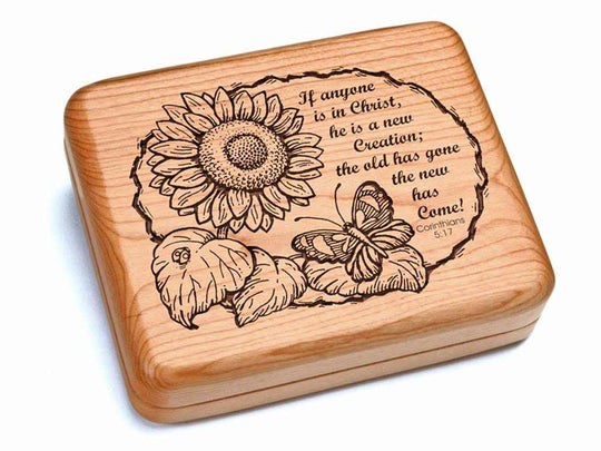 "Top View of a Hinged Box 6x5"" with laser engraved image of Corinthians 5:17"