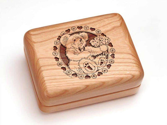 Top View of a Single Deck Card Box with laser engraved image of Teddy & Flowers