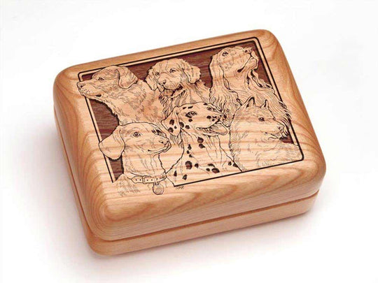 Top View of a Single Deck Card Box with laser engraved image of Best Friends