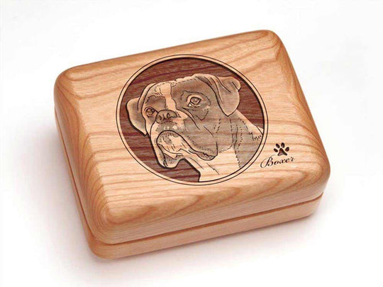 Top View of a Single Deck Card Box with laser engraved image of Boxer