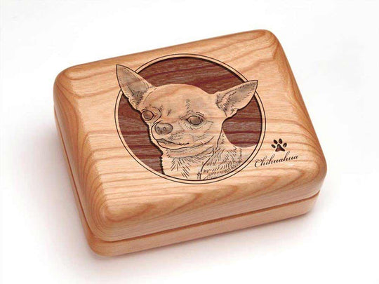 Top View of a Single Deck Card Box with laser engraved image of Chihuahua