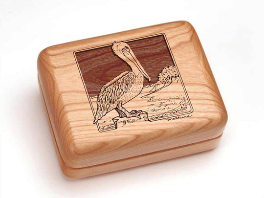 Top View of a Single Deck Card Box with laser engraved image of Brown Pelican