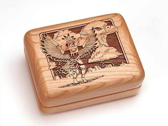 Top View of a Single Deck Card Box with laser engraved image of Kachina & Eagle