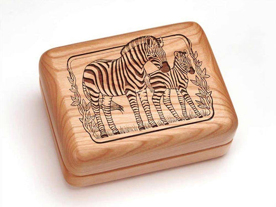Top View of a Single Deck Card Box with laser engraved image of Zebra