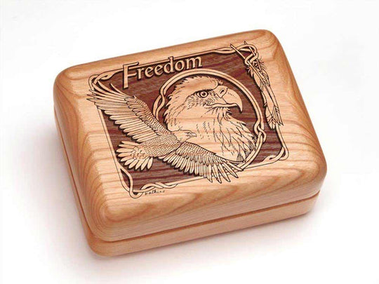 Top View of a Single Deck Card Box with laser engraved image of Eagle Freedom