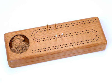 Top View of a Continuous Cribbage Board w/ Cards with laser engraved image of Eagle Head