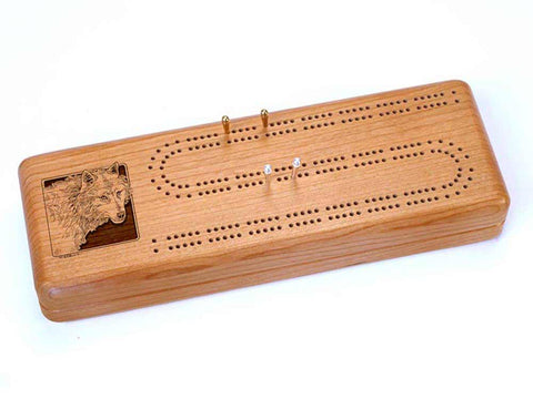 Top View of a Continuous Cribbage Board w/ Cards with laser engraved image of Timber Wolf