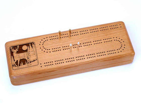 Top View of a Continuous Cribbage Board w/ Cards with laser engraved image of Deer