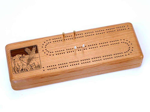 Top View of a Continuous Cribbage Board w/ Cards with laser engraved image of Dogs & Pheasant