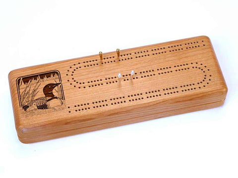 Top View of a Continuous Cribbage Board w/ Cards with laser engraved image of Loons Nestling