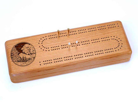 Top View of a Continuous Cribbage Board w/ Cards with laser engraved image of Mountain Scene