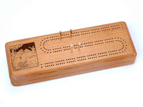 Top View of a Continuous Cribbage Board w/ Cards with laser engraved image of Trout Fishing