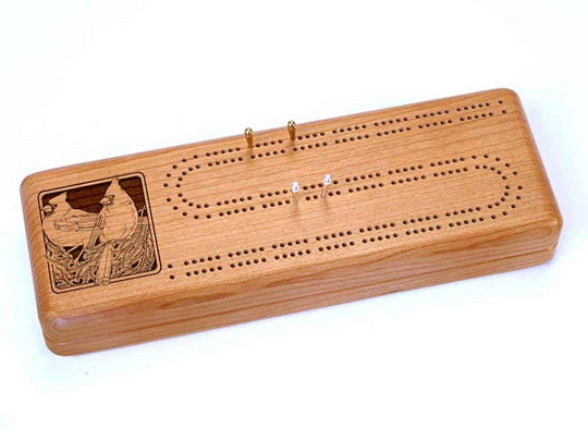Top View of a Continuous Cribbage Board w/ Cards with laser engraved image of Cardinals