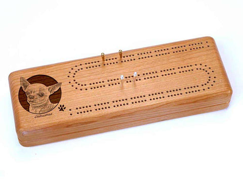 Top View of a Continuous Cribbage Board w/ Cards with laser engraved image of Chihuahua