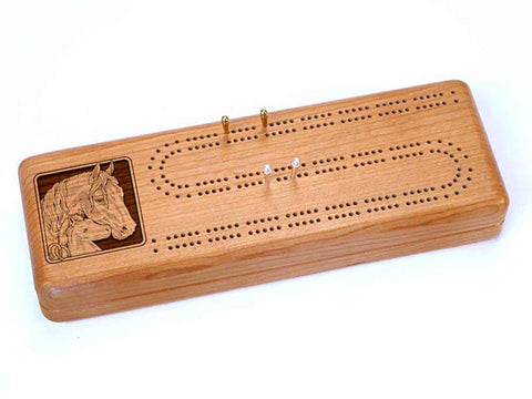 Top View of a Continuous Cribbage Board w/ Cards with laser engraved image of Horses