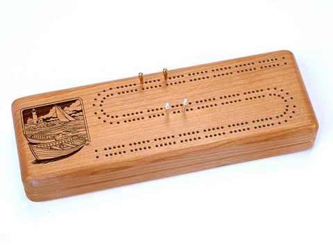 Top View of a Continuous Cribbage Board w/ Cards with laser engraved image of Two Rowboats