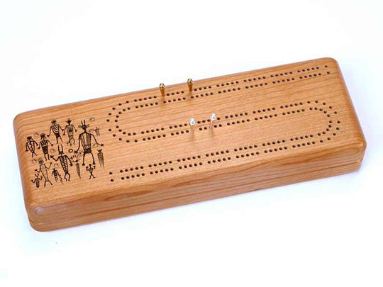Top View of a Continuous Cribbage Board w/ Cards with laser engraved image of Petroglyphs