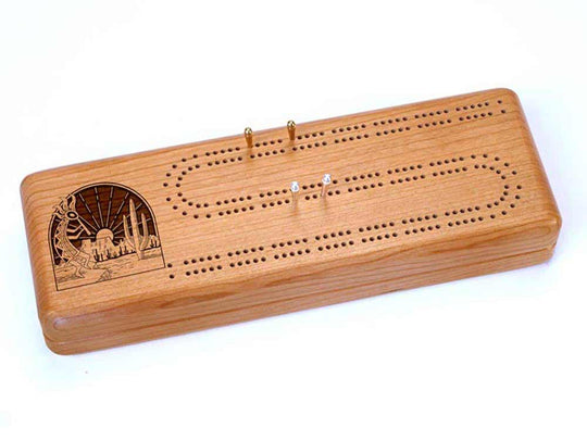 Top View of a Continuous Cribbage Board w/ Cards with laser engraved image of Kokopelli