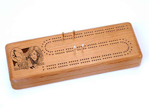 Top View of a Continuous Cribbage Board w/ Cards with laser engraved image of Wolf Maiden