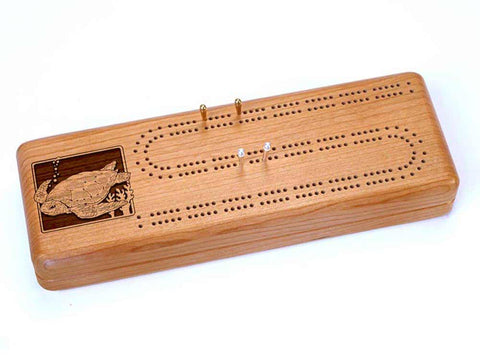 Top View of a Continuous Cribbage Board w/ Cards with laser engraved image of Sea Turtle