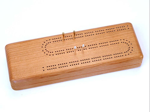 Top View of a Continuous Cribbage Board w/ Cards with laser engraved image of Blank