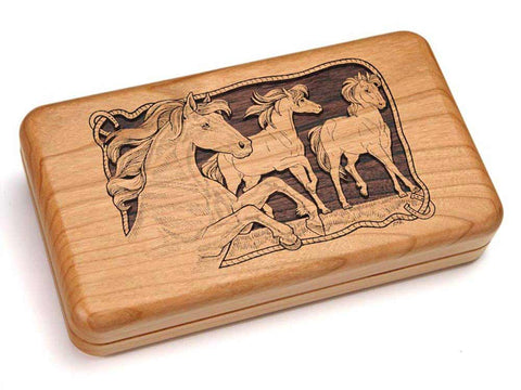 Top View of a Double Deck Card Box with laser engraved image of Horses/Rope Border
