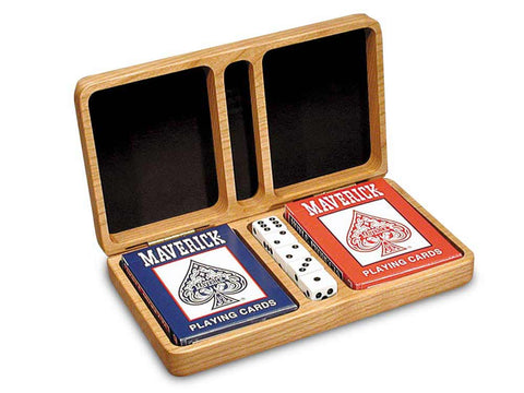 Top View of a Double Deck Card Box w/ Dice with laser engraved image of Blank