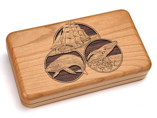 Top View of a Double Deck Card Box w/ Dice with laser engraved image of The Seas